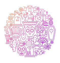 day of the dead line icon circle design vector image