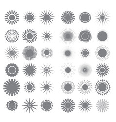 different sun icons isolated on white background vector image