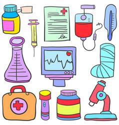 Doodle of medical object set design vector