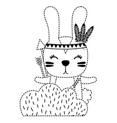Dotted shape ethnic rabbit animal in back of vector