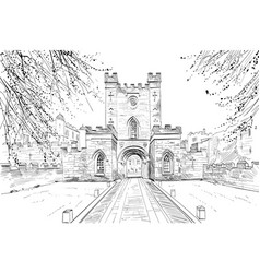 Durham castle england great britain vector