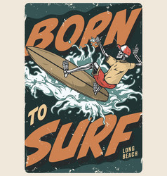 extreme surfing vintage colorful poster vector image