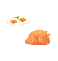 Flat chicken carcass fried egg vector