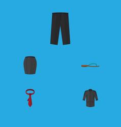 Flat icon dress set of cravat pants beach sandal vector
