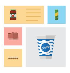 flat icon eating set of spaghetti ketchup yogurt vector image