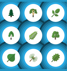 Flat icon nature set of park timber alder and vector