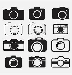 Foto camera icon set vector