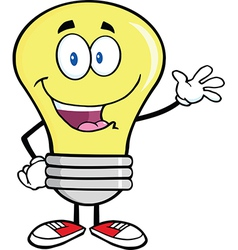 Friendly light bulb cartoon vector