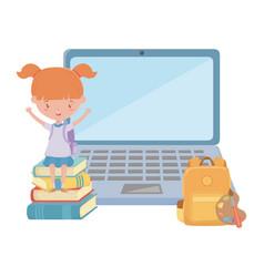 Girl kid school and laptop design vector