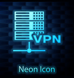 Glowing neon server vpn icon isolated on brick vector