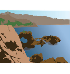 Great mountaintop panoramic view over the sea vector