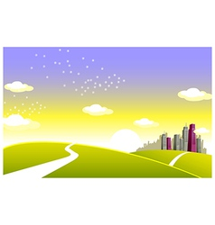 Green landscape and skyline vector image
