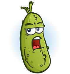 Grumpy sarcastic pickle cartoon character vector