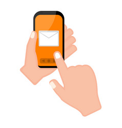 hand holding a smartphone with a mail app vector image