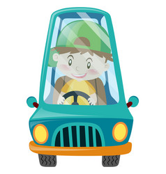 Happy boy driving blue car vector