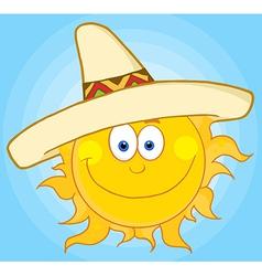 Happy Sun With Sombrero Hat vector image