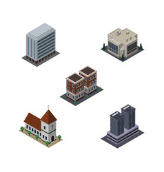 Isometric building set of office chapel tower vector