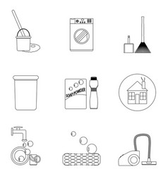 laundry and cleaning house icon set line vector image