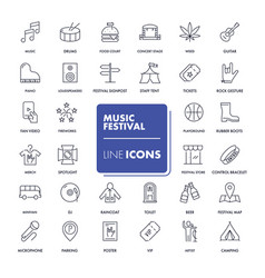 Line icons set music festival vector
