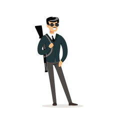 Mafia man character in sunglasses with a gun on vector