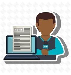 Man news laptop report vector