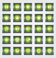 Media Button green vector image