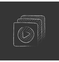 Media player Drawn in chalk icon vector image