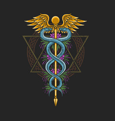 medical symbol caduceus healthcare vector image