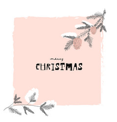 merry christmas cute winter botanical greeting vector image