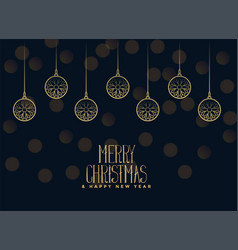 merry christmas hanging balls on dark background vector image