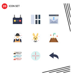 Modern set 9 flat colors pictograph rancher vector