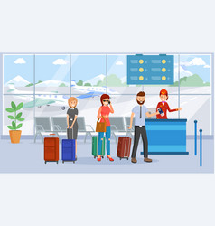 Passengers in airport terminal vector