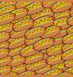 Pattern with isometric delicious hotdogs vector