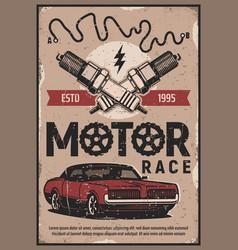 Retro cars races vintage motors rally poster vector