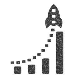 Rocket Business Bar Chart Grainy Texture Icon vector
