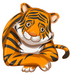 Sad tiger on white background vector
