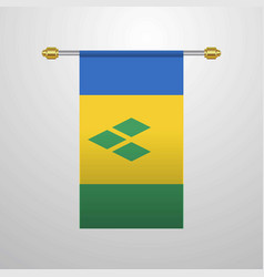 Saint vincent and grenadines hanging flag vector