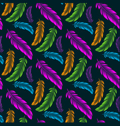 seamless pattern with colored feathers of vector image