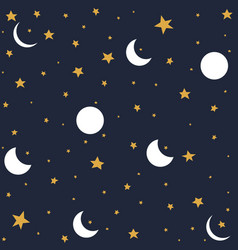 seamless pattern with moon and stars vector image