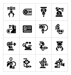 Set icons of robotic industry vector