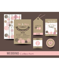 set wedding cards wedding invitations vector image