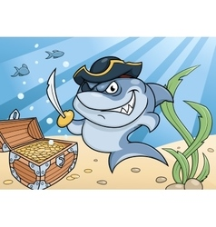 Shark pirate and treasure chest vector image
