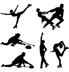 Sports on ice black icon set vector image
