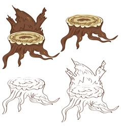 Tree stump with roots vector