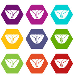 Vintage bikini icons set 9 vector