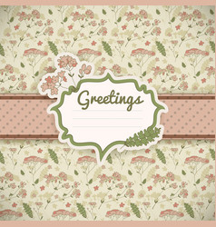 vintage flowers card vector image