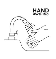 water tap hand washing symbol black and white vector image