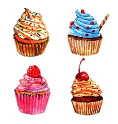 Watercolor cupcakes icons set vector