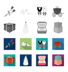 Wedding and attributes monochromeflat icons in vector