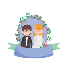 wedding couple groom and bride cartoon flowers vector image